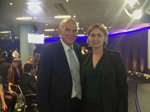 Judith Bunting with Vince Cable at the Bloomberg Keynote Speech