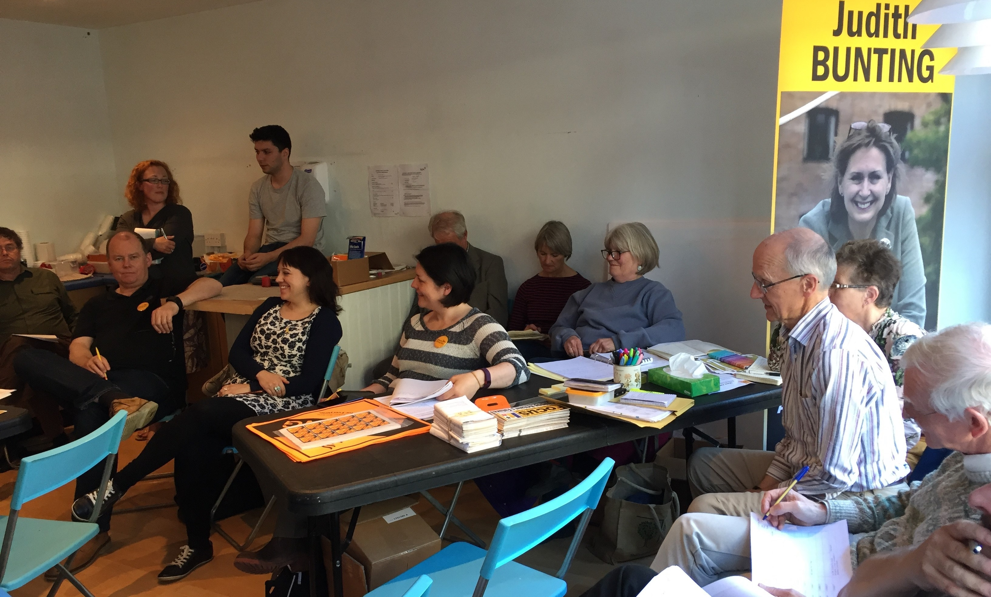 Campaign team meeting at Lib Dem Campaign HQ in Newbury