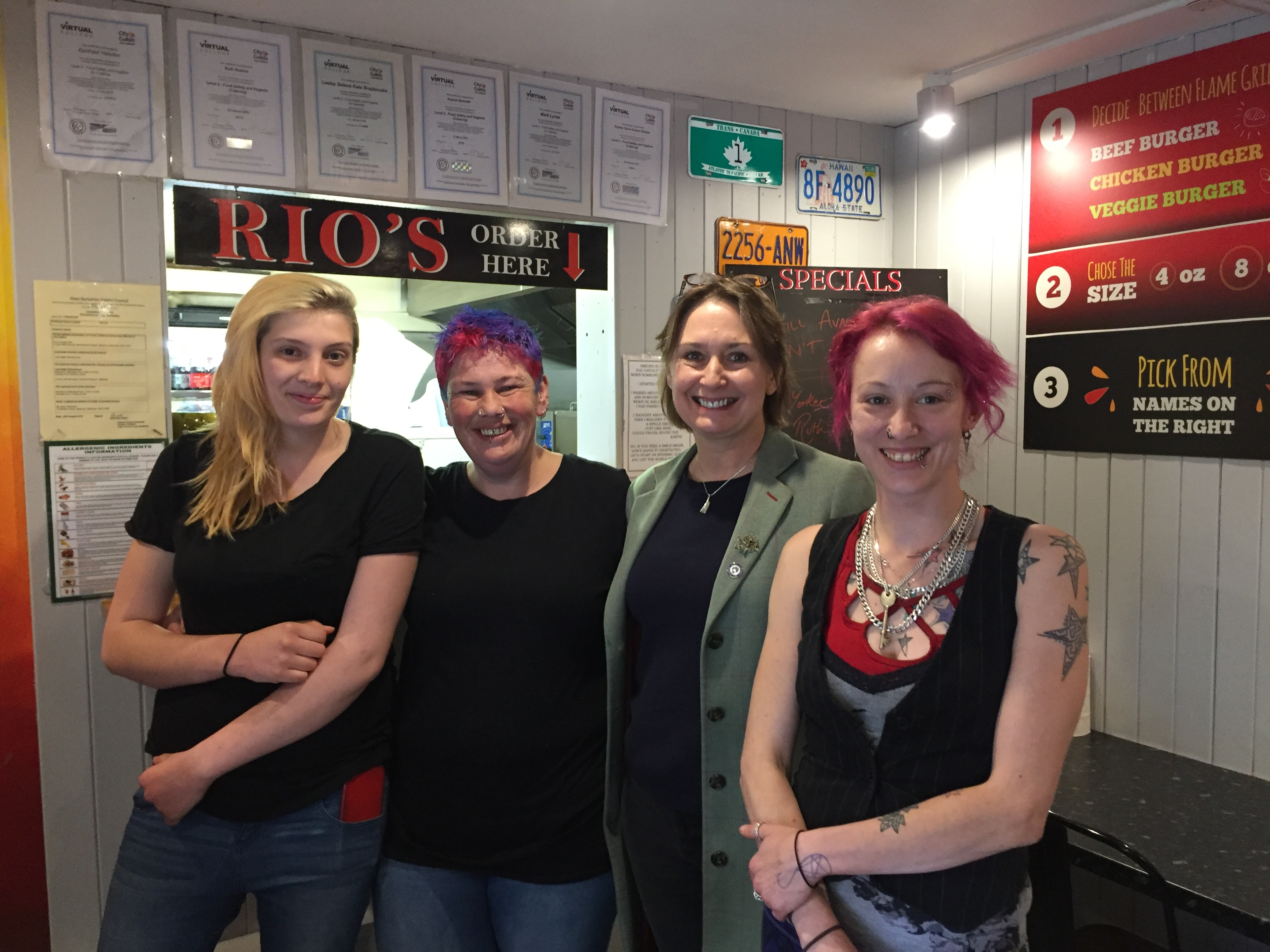 Judith Bunting with Ruth Headen & her team at Rio's Burgers